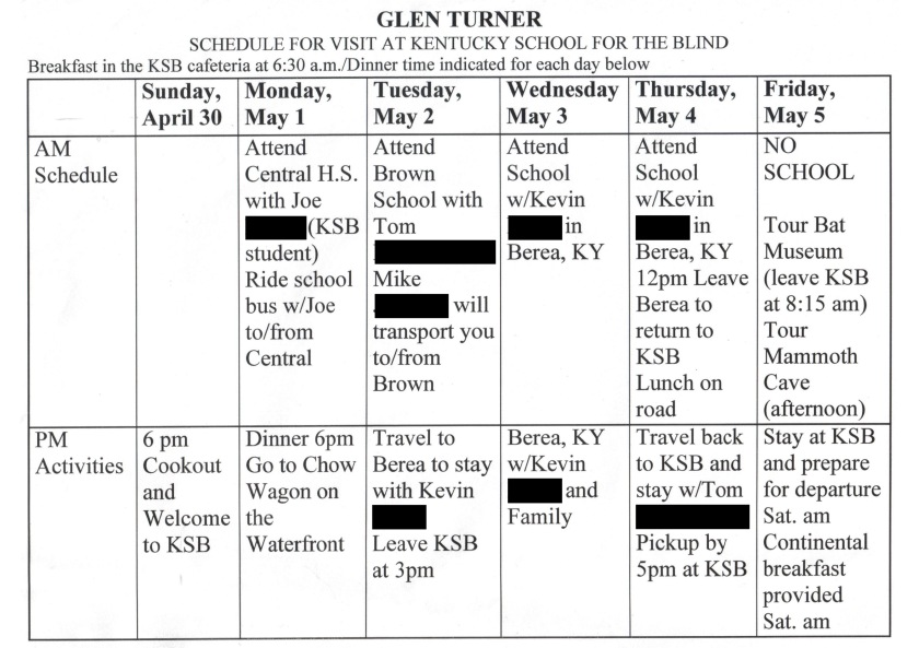 My personalised itinerary for my week at Kentucky School For The Blind. Includes time spent going to school with individual students and staying with their families, plus visits to the Baseball Bat Museum and Mammoth Caves, and at meal at Chow Wagon on the waterfront.