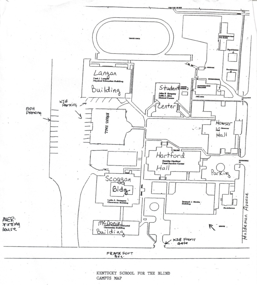 Hand-drawn map of the Kentucky School For The Blind campus.