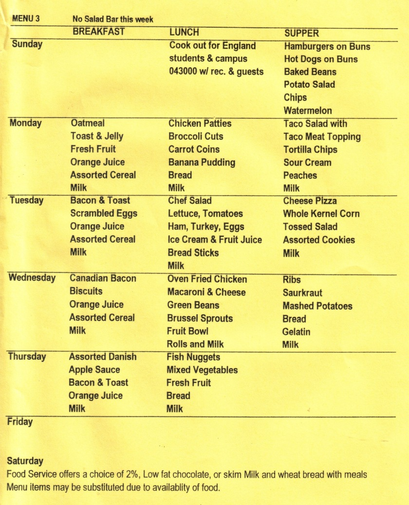 Breakfast, lunch and supper menu for our week at Kentucky School For The Blind.