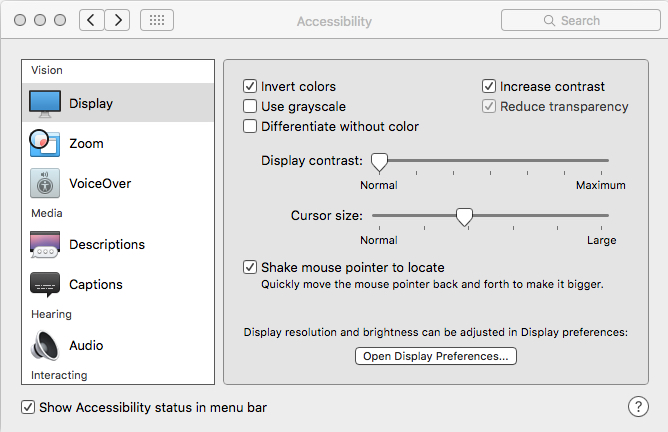 Image shows the window for Accessibility Display preferences on my Mac computer