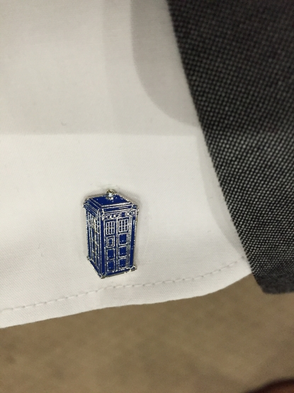 Tardis cufflink on my shirt sleeve
