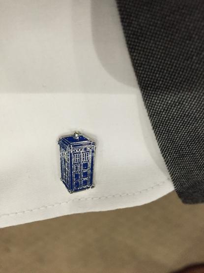 Tardis cufflink on my shirt sleeve