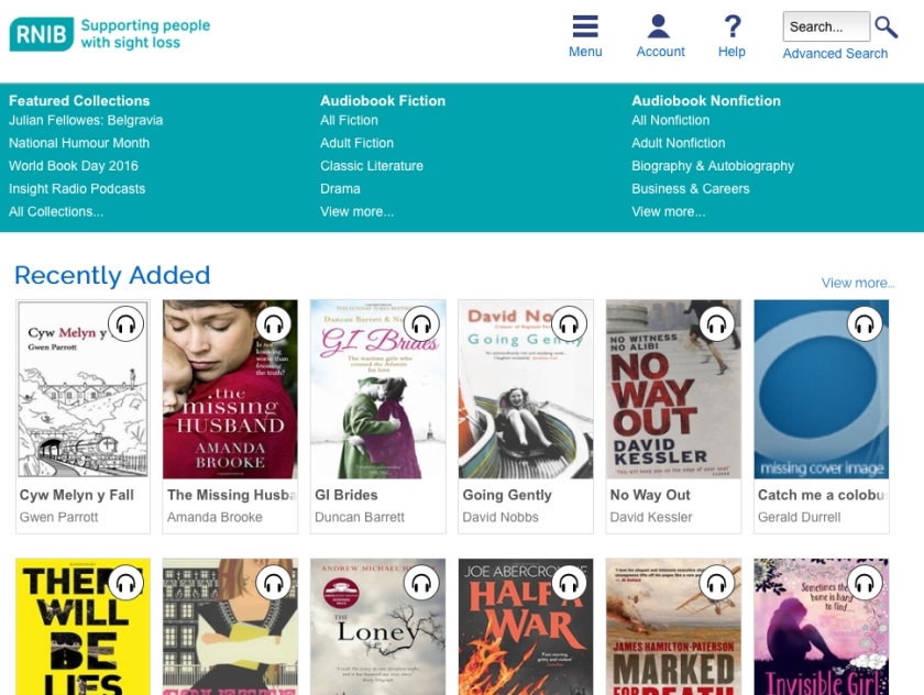 RNIB Overdrive Site home page. Top row has account, help and search options. Next row has book categories. Following rows show new titles recently added to the library.