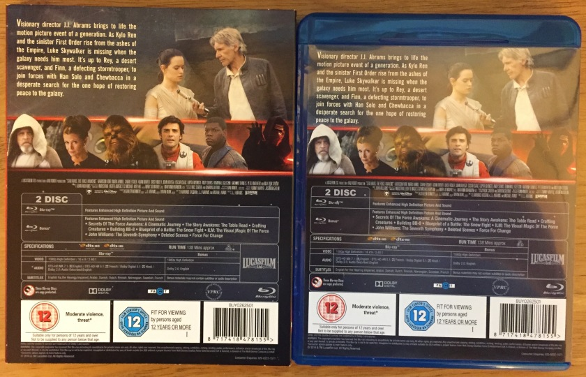 Star Wars Blu-Ray Back. Outer slip case and inner case identical. Top half shows Rey and Han Solo at top, with film description to their left, and other characters in a line below. Lower half contains special features list plus technical and copyright information.
