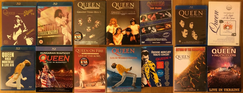DVDs by Queen, featuring their music videos, live shows and documentaries.