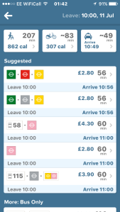 Citymapper app screenshot with route suggestions. Shows time and calories for walking and cycling, time for a taxi, and best routes on the tube and buses, which you click on for more detail.