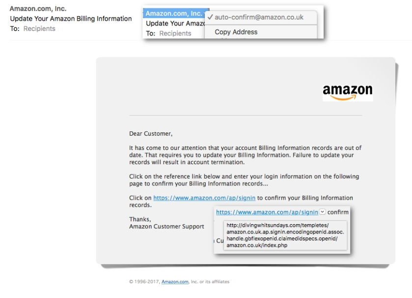 Scam email pretending to be from Amazon.