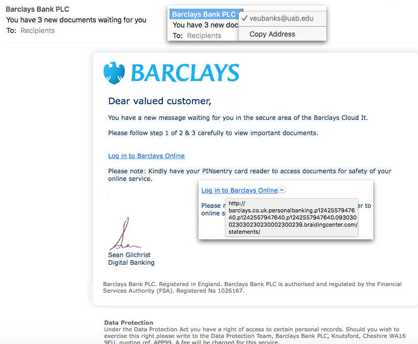 Scam email pretending to be from Barclays.