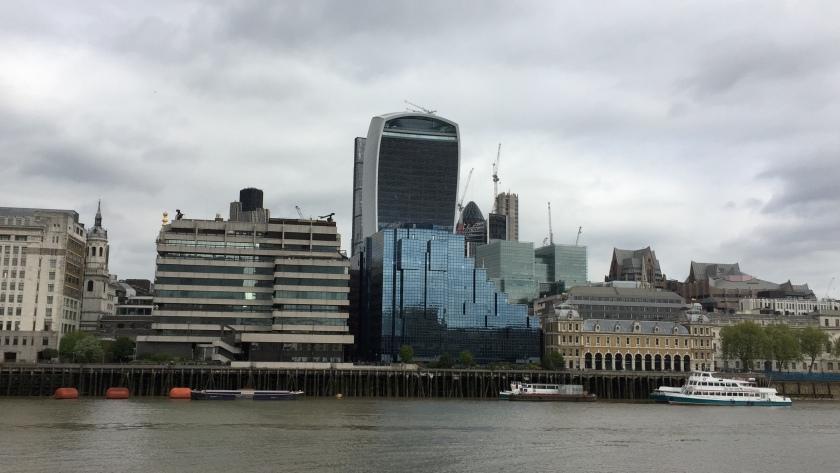 The Walkie Talkie and other buildings, viewed from the opposite side of the River Thames
