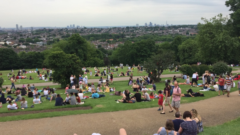 Lots of people sitting on the grass in Alexandra Park, surrounded by trees, with the London skyline filling the horizon.