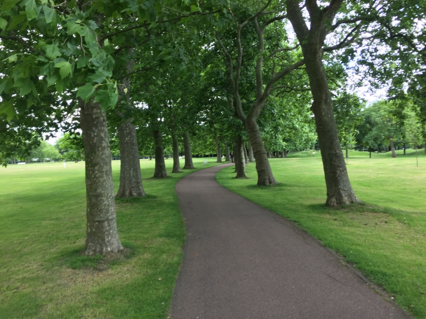 A curving tree-lined path, with grass on each side, in West Ham Park.