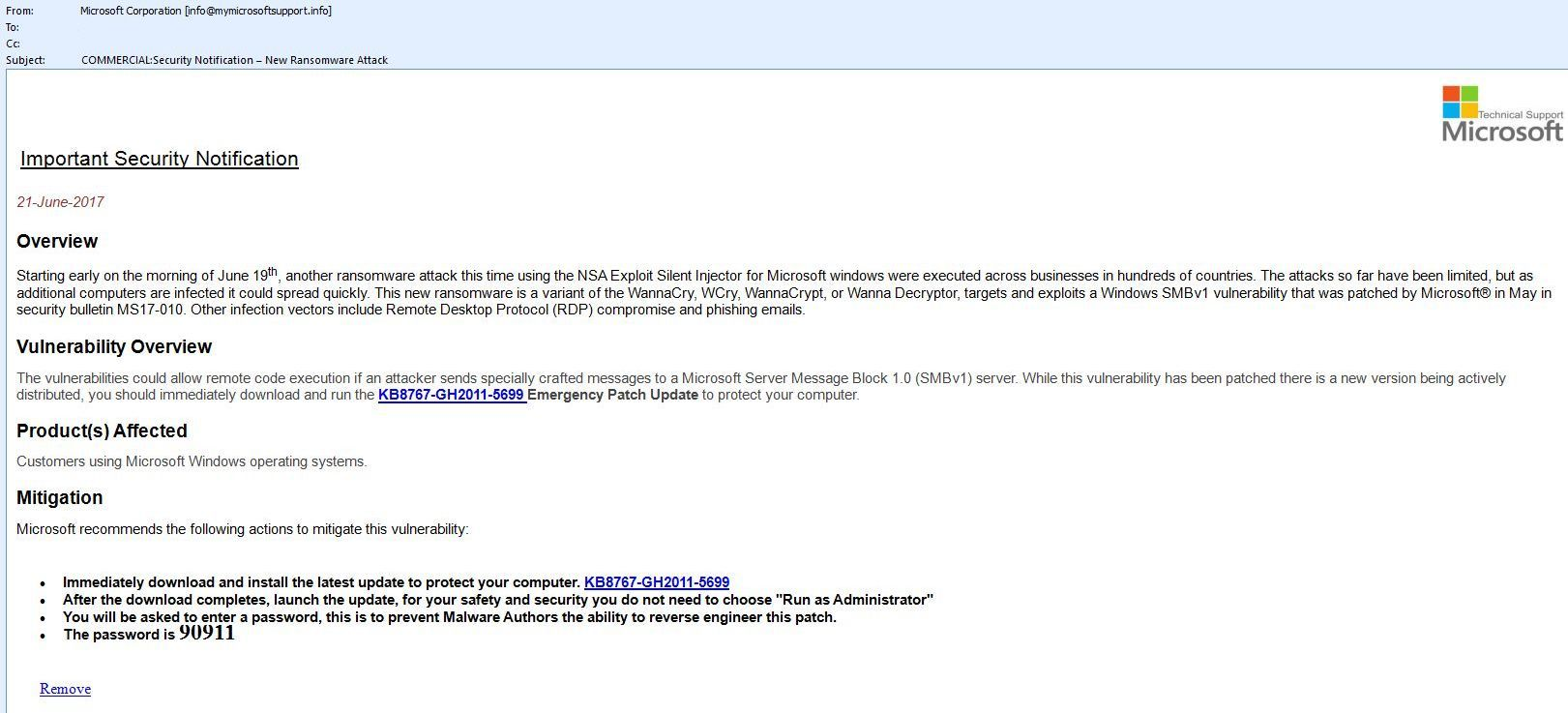 microsoft security alert email