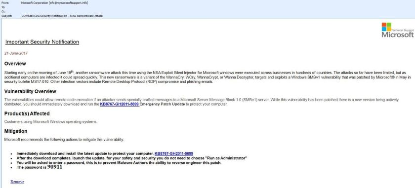 Screenshot of Microsoft scam email, pretending to be a security notification to get people to install a malicious program.