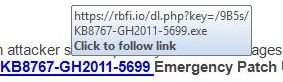 Link address in Microsoft scam email, pointing to an EXE program file on a site called rfbi.io.