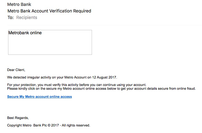 Scam email pretending to be from Metro Bank