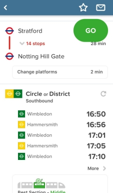 Citymapper app screenshot, telling you there are 14 stops taking 28 minutes between Stratford and Notting Hill Gate, then you need to change platforms to get the southbound Circle or District line, with times of the next trains and the best carriage to use to be nearest to the station exit.