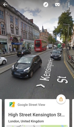 Image of Kensington High Street on Google Street View, with High Street Kensington underground station on the left of the street