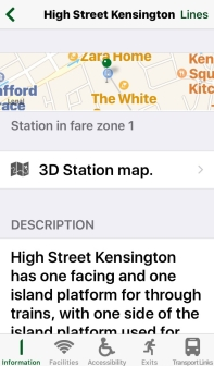 Station Master app screenshot, showing a map location and description of High Street Kensington station. There are links to a 3D station map, and to information about facilities, accessibility, exits and transport links.