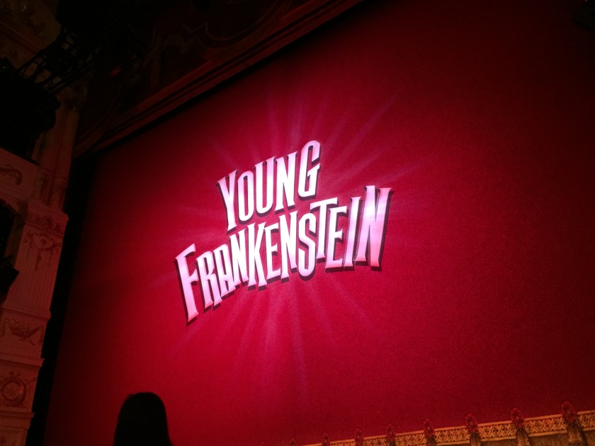 Red stage curtain with big white letters saying Young Frankenstein