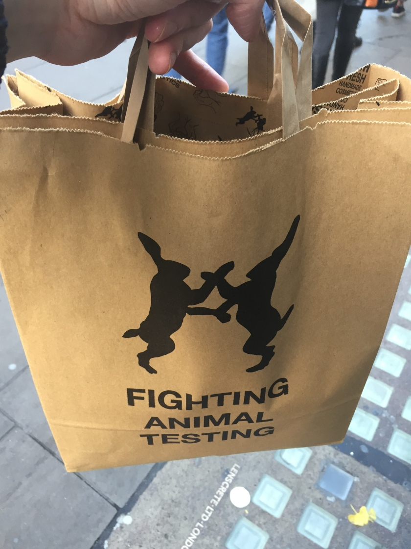 Large brown bag, with a silhouette of 2 rabbits on their hind legs as they face each other, grasping each other's arms, above the words Fighting Animal Testing.