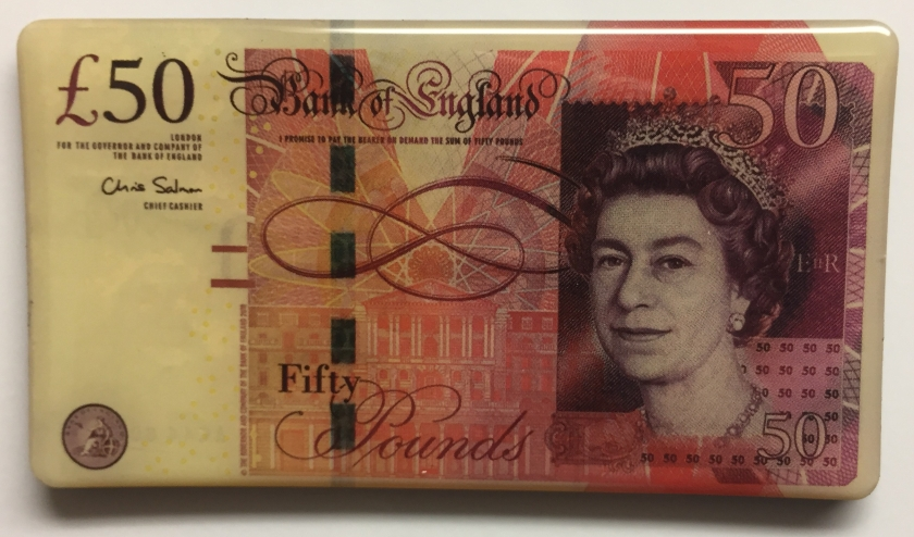 Fridge magnet that looks like a 50 pound note.