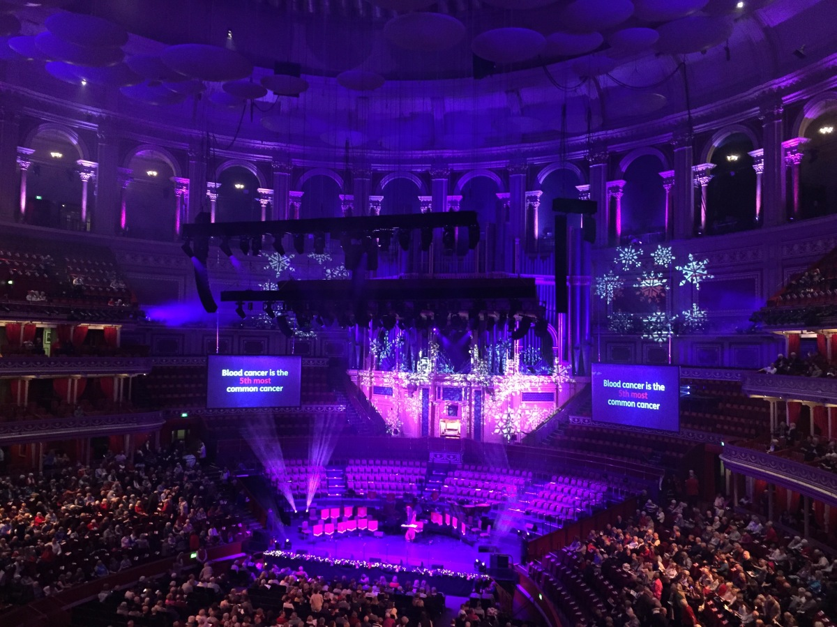 View towards the stage in the Albert Hall auditorium, bathed in blue and purple light with snowflake patterns projected on the walls.