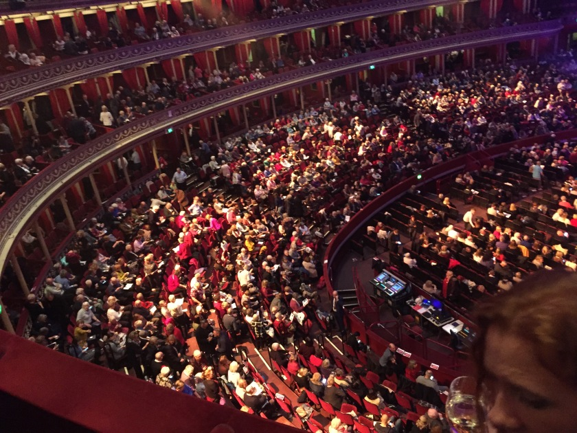View from above of the audience in the stalls.
