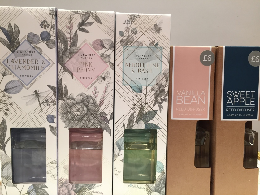 Scented diffusers from Marks & Spencer - Lavender & Chamomile, Pink Peony, Neroli, Pine and Basil, Vanilla Bean and Sweet Apple