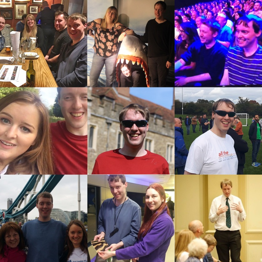 A collage of 9 images of me, including at a quiz night, at an escape room, in a TV audience, with Emily Davison, posing with sunglasses by an old building, posing with a crowd on a football pitch, posing with 2 ladies on Tower bridge, looking at a piece of fur with a lady at the Natural History Museum, and giving a public talk.