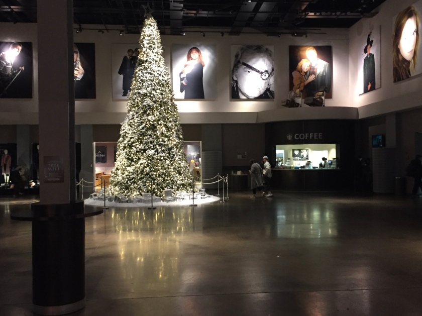 Very tall Christmas tree covered in lights in the large studio reception area, with large photos of various characters from the Harry Potter movies all around the upper walls