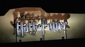 Large logo for The Making Of Harry Potter hanging on the wall above the entrance to the studio.