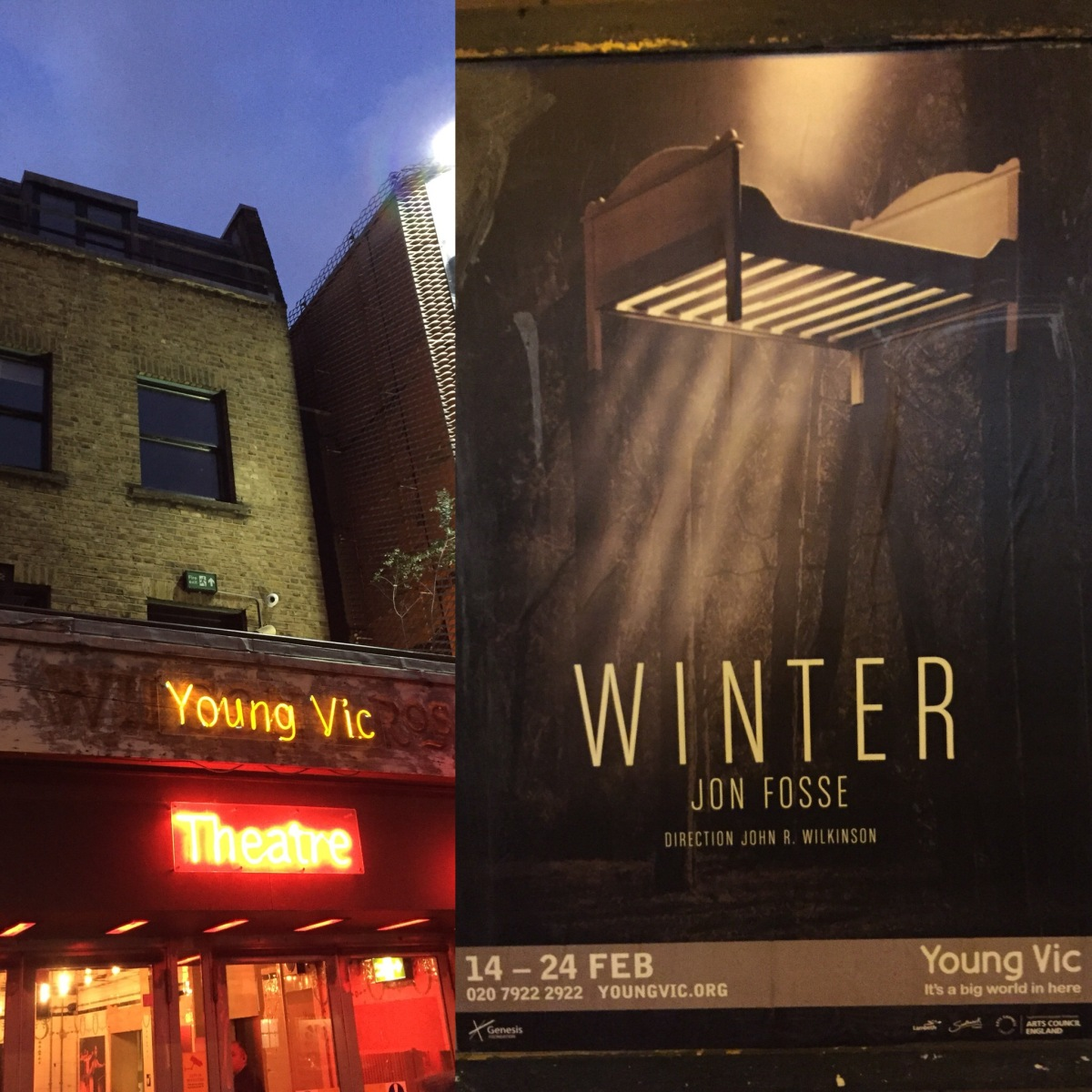 The entrance to the Young Vic theatre, and a poster for the Winter play, with shafts of light shining through the wooden slats in the bottom of a bed suspended in the air.