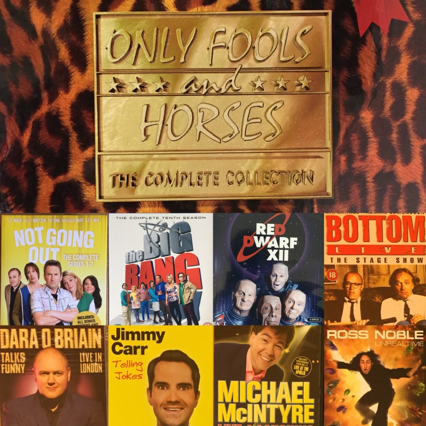 DVD cases for Only Fools and Horses, Not Going Out, The Big Bang Theory, Red Dwarf, Bottom Live, Dara O Briain, Jimmy Carr, Michael McIntyre & Ross Noble.