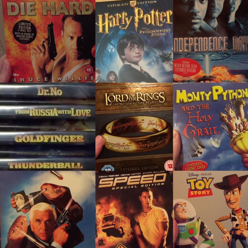 DVD cases for the films Die Hard, Harry Potter & The Philosopher's Stone, Independence Day, the first 4 James Bond films, the Lord of the Rings boxset, Monty Python & The Holy Grail, the Naked Gun boxset, Speed, and Toy Story