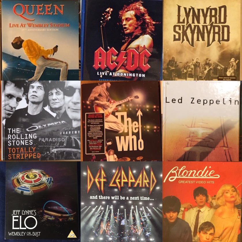 DVDs & CDs by Queen, AC DC, Lynyrd Skynyrd, The Rolling Stones, The Who, Led Zeppelin, Electric Light Orchestra, Def Leppard & Blondie.
