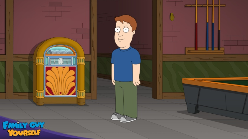 A cartoon image of me in the Family Guy universe. My character is wearing a blue top and green trousers, and is standing in the pub in between the jukebox and pool table.
