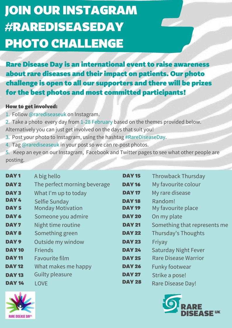 Poster showing the instructions for the Rare Disease Day photo challenge, listing the theme for each of the 28 daily photos.