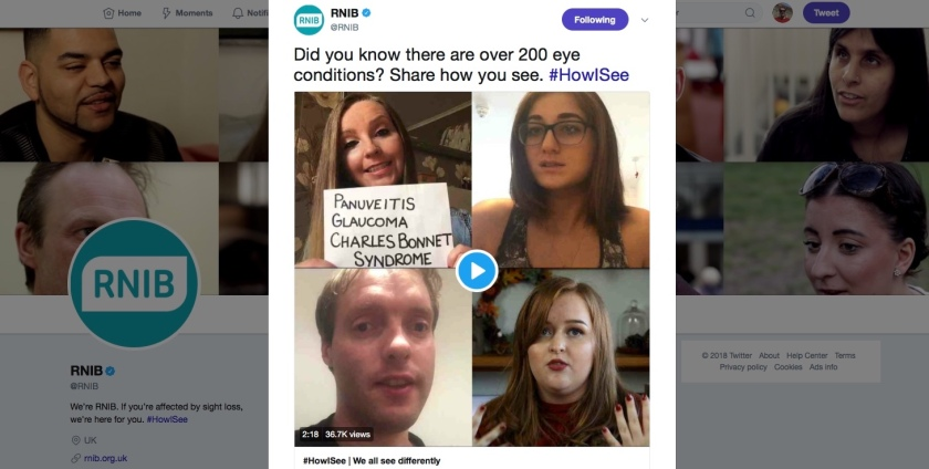 RNIB tweet text - Did you know there are over 200 eye conditions? Share how you see. Hashtag How I See. Attached to the tweet is a video compilation featuring myself and 3 other bloggers talking about our eye conditions.