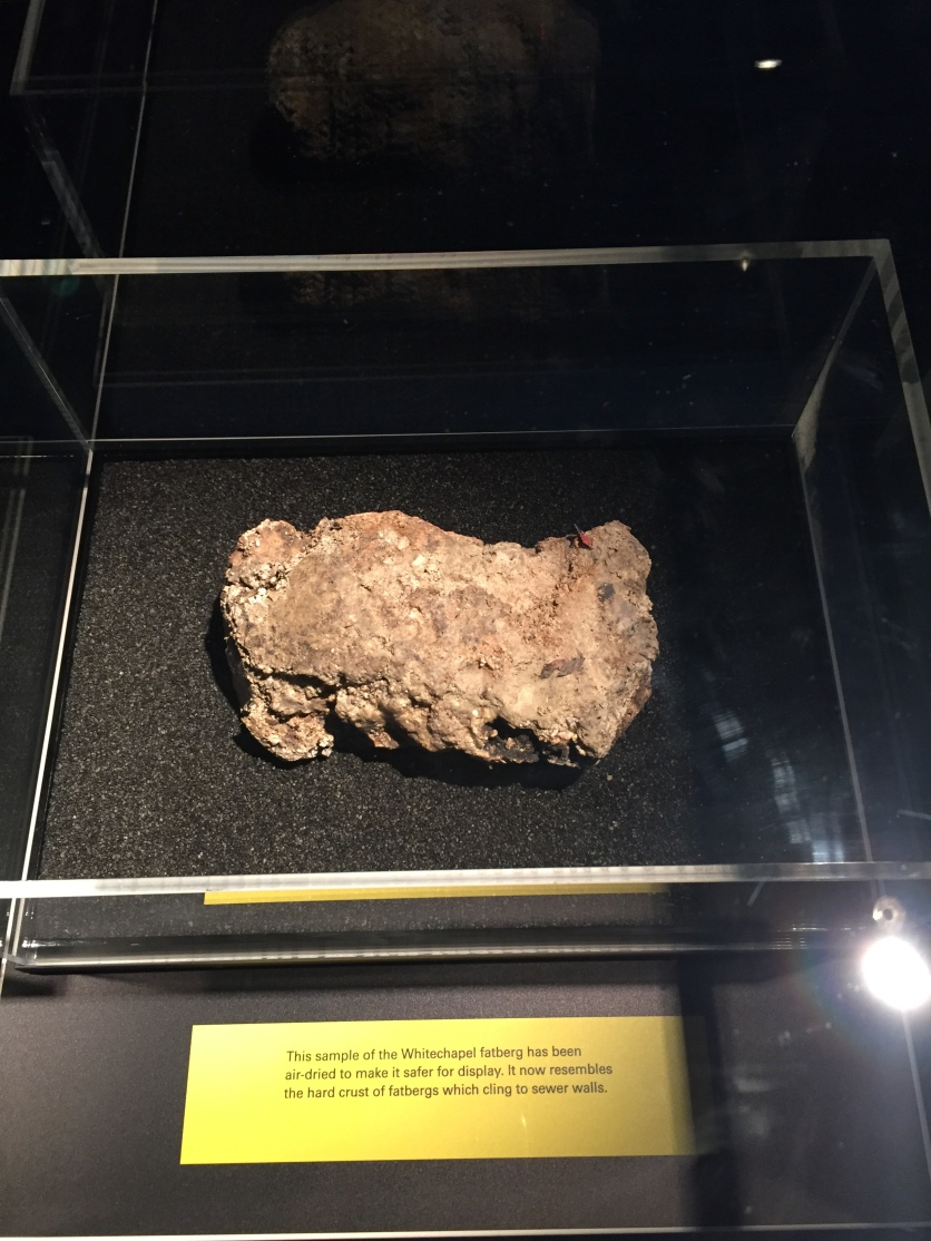 An air-dried piece of the fatberg in a glass case. It looks like a piece of rock, but when you look closely there is a small piece of the blue and orange wrapper from a Double Decker chocolate bar sticking out of it.