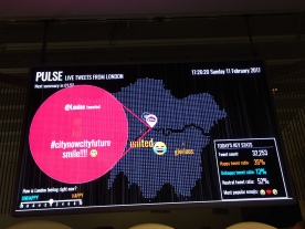 Monitor showing a map of London, on top of which is a red circle with white text showing a tweet from Louise, that says City Now City Future, Smile!. A box on the right shows the ratio of happy, unhappy and neutral tweets.