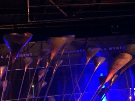 Closeup of some of the copper pieces on the ends of the poles that form the London 2012 Olympic cauldron.