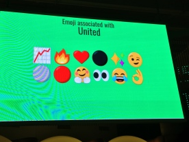 Monitor showing the emoji most associated with the word United at the moment. 12 emojis are displayed on 2 rows against a green background, including a graph, fire, a heart, a wink, a pair of eyes, a face crying with laughter, and a finger and thumb placed together as an ok signal.
