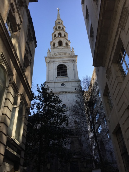St Bride's Church, with a tiered spire made of 4 circular sections that get smaller towards the top, hence it is seen as the inspiration for tiered wedding cakes.