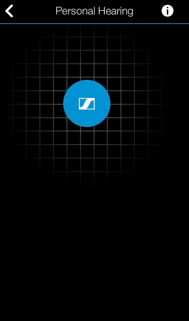Personal hearing screen in the Mobile Connect app, which simply has a grey grid on a black background, on top of which is a large blue circle. You can move this circle anywhere on the screen to get the sound you want. Move it left for more bass, right for more treble, up for more volume and down for less volume.