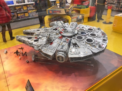 Lego model of The Millennium Falcon spaceship from Star Wars