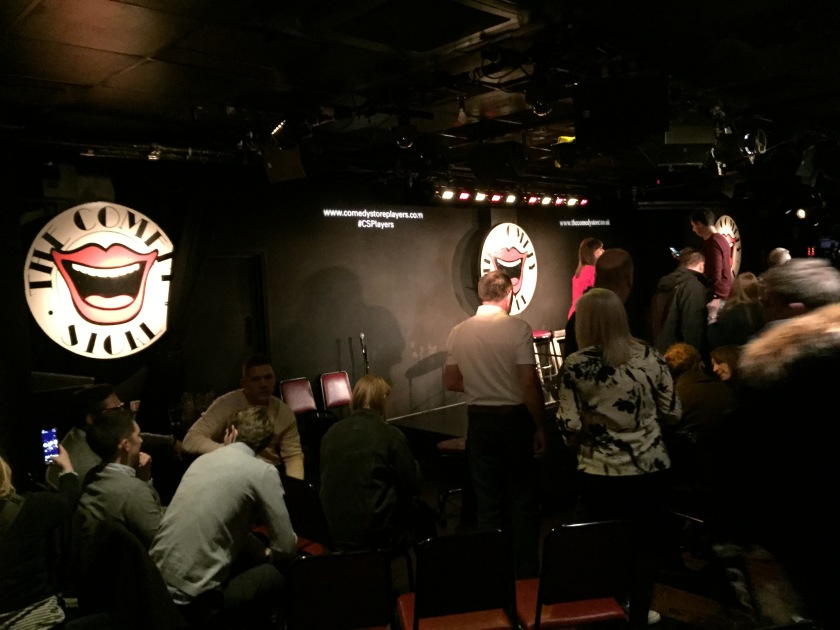 The audience and stage at The comedy Store