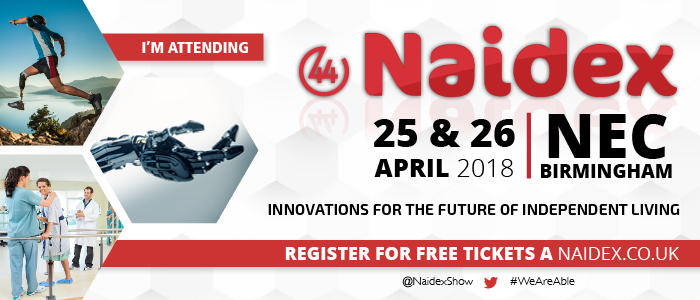 Invite to register for free tickets to the free Naidex event, about disability and independent living, on the 25th and 26th April at the Birmingham NEC.