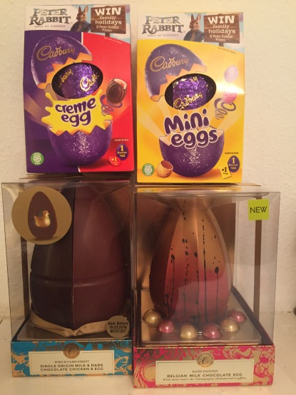 2 Cadbury's Easter Eggs, for Creme Egg and Mini Egg, plus 2 Marks & Spencer Easter Eggs, one in halves of dark and white chocolate, and the other all Belgian milk chocolate with mini truffles.