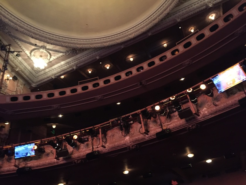View from the stalls towards the upper levels of the auditorium