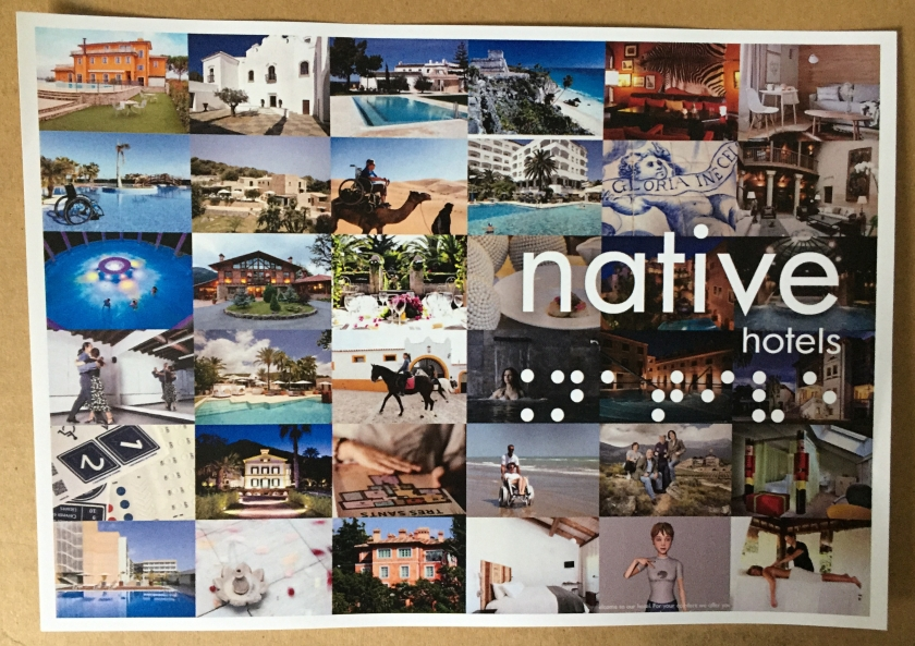 Native Hotels flyer, showing a collage of photos from various holidays
